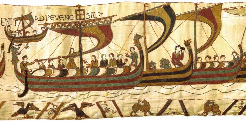 """La tapisserie de Bayeux : """"Les Bâteaux Vikings en l'an 1066 vers l'Angleterre"""""""